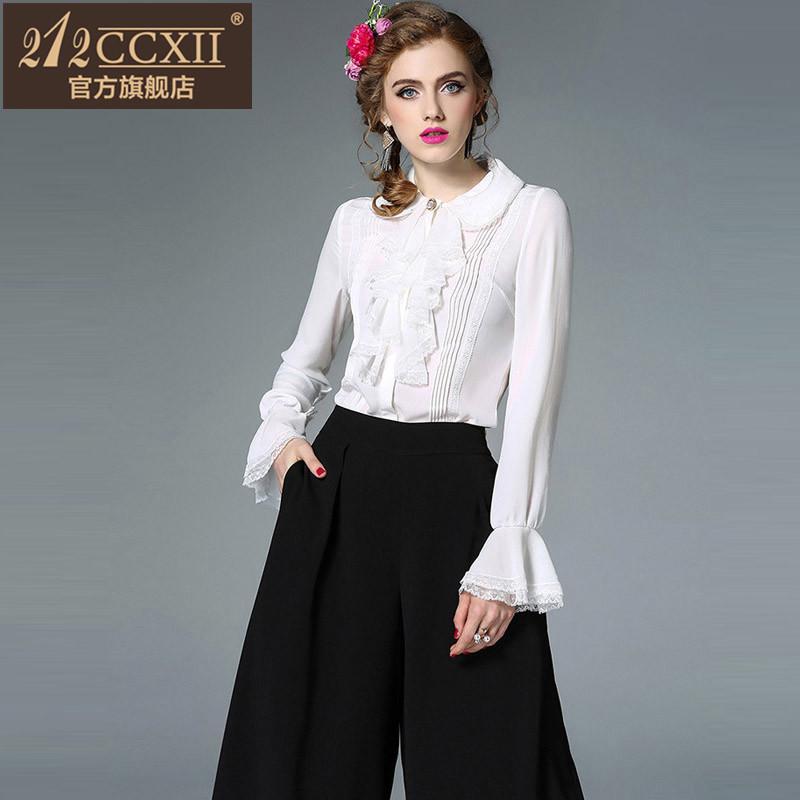 212CCXII修身显瘦收腰上衣2017初秋品牌女装新款荷叶边蕾丝衬衫女