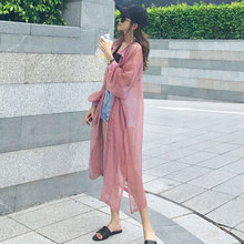 Chiffon sunscreen ladies medium length cardigan 2018 new summer lace shirts, sunscreen covers, thin outer covers.