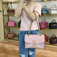 Genuine Shopping COACH/Lou Chi Women's Bags New Color-Made Striped Latch Chain Bags Women's Shoulder Messenger Bag