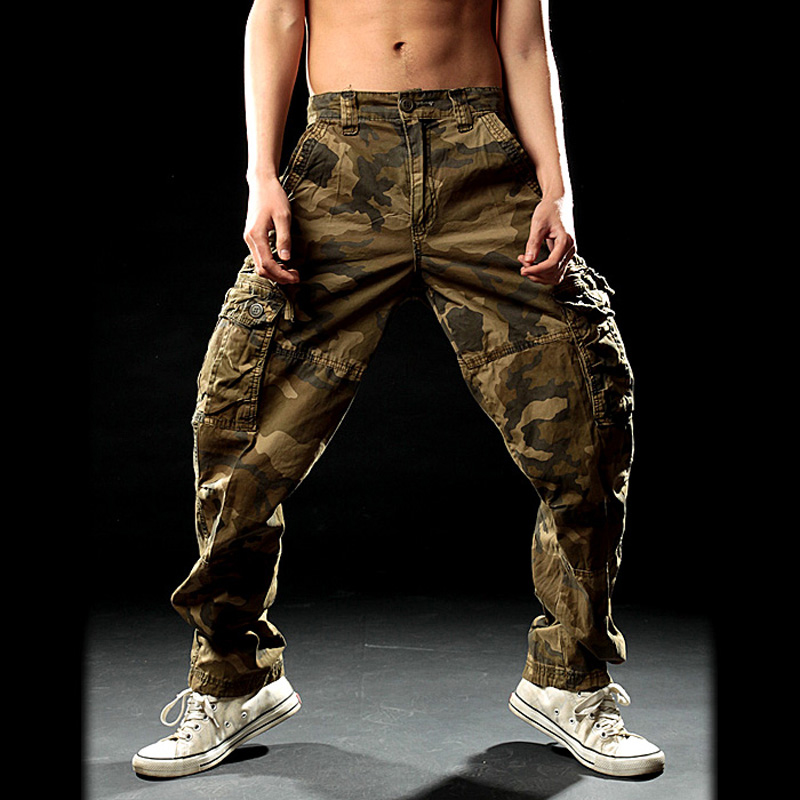 Mens Fashion Camo Cotton Slim Straight Military Pants Outdoor Trousers Pants Sz