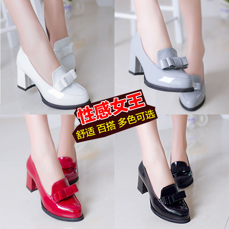 New spring shoes British wind small leather shoes documentary spring shoes 17 female shoes thick with high restoring ancient ways round head bow