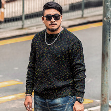 Autumn and winter - add fertilizer mixed color Sweater XL fat fat thin sweater knit all-match fat male