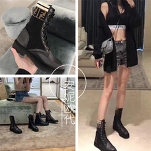 Genuine purchase of Fendi Martin boots lace up elastic socks boots knitted short boots middle tube women boots Knight boots