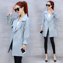 Korean version of the long coat 2017 women fall fashion temperament Lapel sleeve waist slim pure cotton jacket