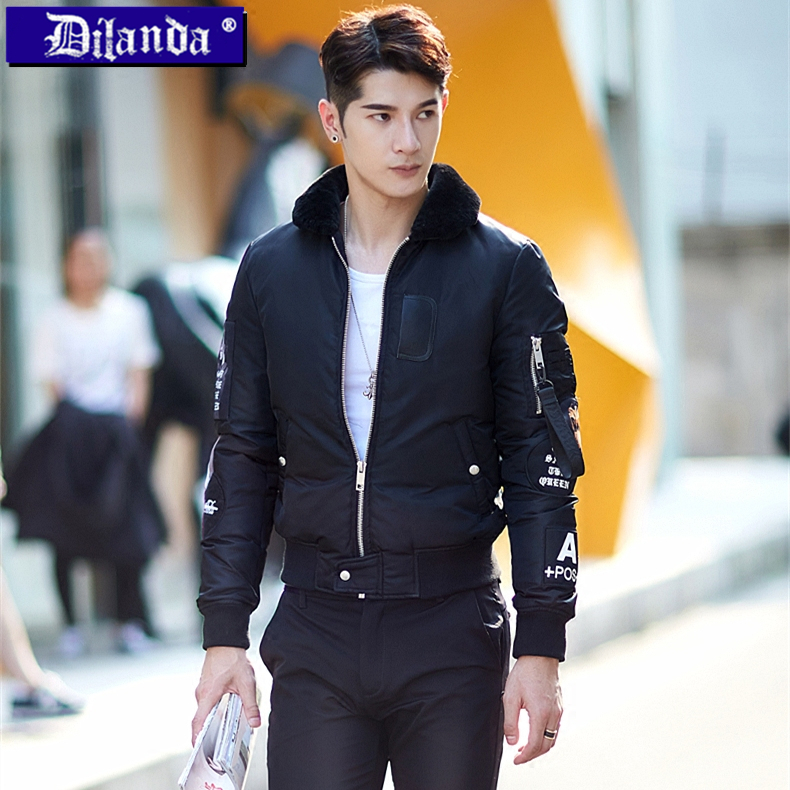 Men's Baseball Jacket collar short thin young Korean winter coat slim thick wool collar jacket