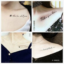 50 tattoo stickers waterproof and durable female clavicle personality English letters imitation tattoo male flower arm ankle stickers