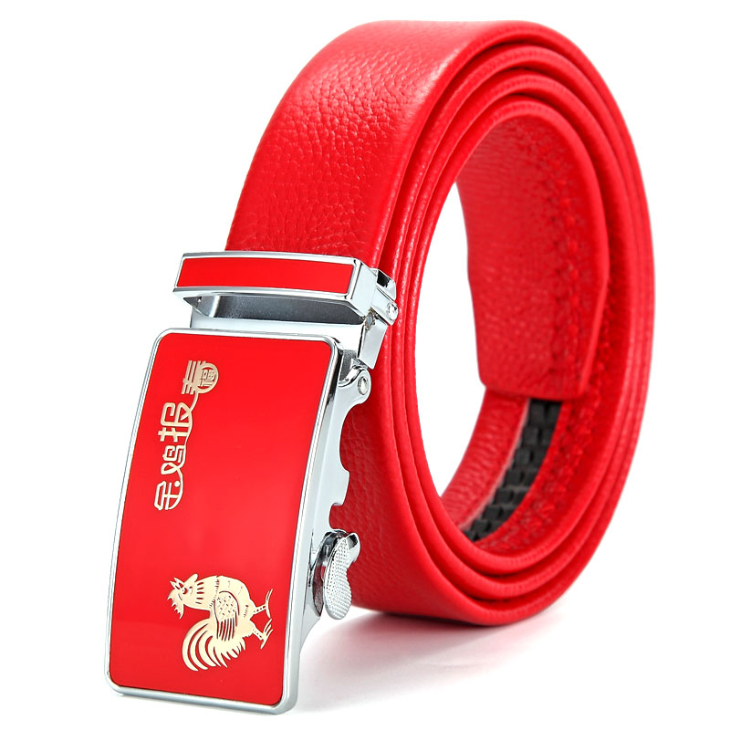 Red belt buckle leather automatic male chicken year of fate contracted the first layer of pure leather belt size lengthened red wedding