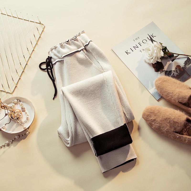 休闲裤女冬季新款韩版宽松百搭显瘦针织运动九分裤加绒小脚哈伦裤