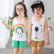 In the summer of 2 children 4 Boys 5 suit vest 3 cotton dresses 6 baby sleeveless shorts two piece set of children aged 7 years