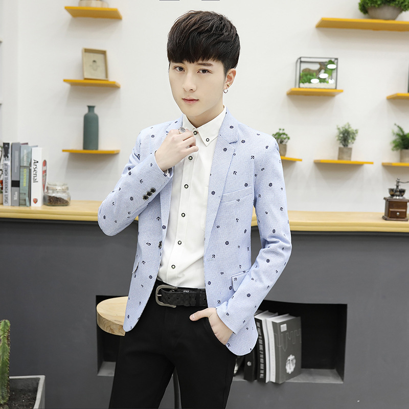 2017 new men's casual suit jacket suit male floral Korean slim young Metrosexual jacket