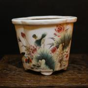 The famille rose fleshy lotus calamus antique old antique porcelain ceramic flowerpot old goods set