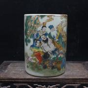 Special Tongzhi year eight stationery pen pastel antique porcelain antique antique ornaments