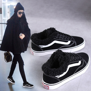 The winter with velvet canvas shoes chic ulzzang shoes black female Korean students over the fire warm shoes shoes