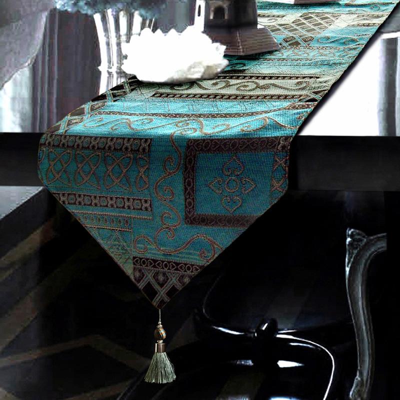 地中海蓝色桌旗床旗酒店外贸欧式奢华新古典餐桌布艺茶几桌旗桌垫