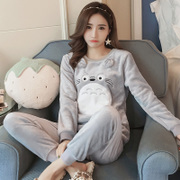 Korean version of Coral Velvet Pajamas Female winter sweet cute dragon cat suit fresh student thickening flannel Home dress