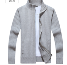 New winter men's cashmere sweater cardigan sweater zipper with thick autumn coat high necked sweater coat big code