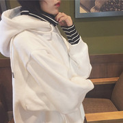 Autumn wind BF Korea ulzzang Harajuku false two loose stripe mosaic turtleneck with cashmere Hoodie female