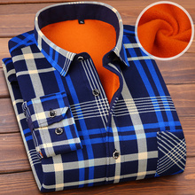 The middle autumn and winter shirt 30 year old dad put 45 men with plaid childe cashmere thermal 50 casual shirt 40