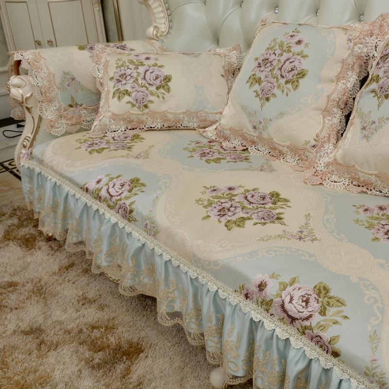 欧式沙发垫色织提花高档奢华四季防滑座垫布艺贵妃扶手巾自由定制