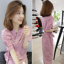 European station 2018 summer new European goods tide Korean version of the short-sleeved lattice socialite Slim long dress womens clothing