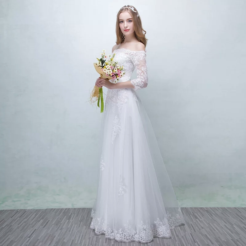 Bridal wedding gowns 2016 new winter to tail one shoulder long sleeve slim slim Korean style simple woman