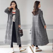 2017 autumn new suit collar button plaid jacket overcoat Houndstooth long windbreaker female tide