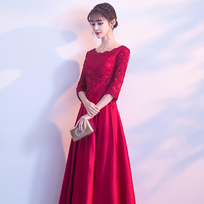 敬酒服新娘红色2017新款冬季长袖修身结婚宴会晚礼服裙女长款显瘦