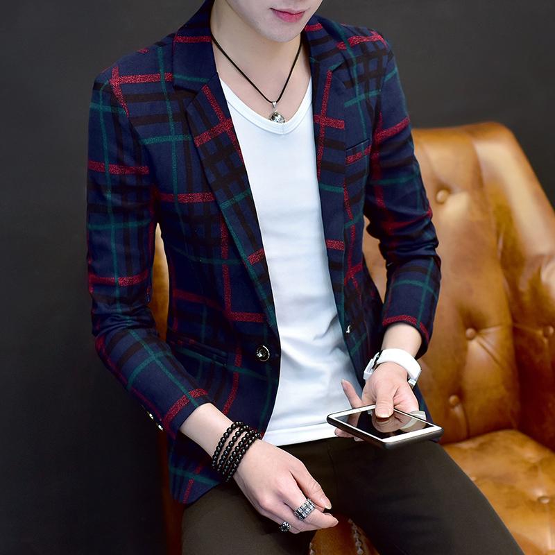 男士外套新款2017韩版休闲小西装男上衣修身潮流春秋帅气男装西服