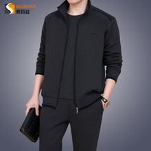 Dad autumn suit three-piece middle-aged men's sports suit 2018 new large size sportswear men spring and autumn