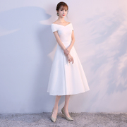 A long white dress woman 2017 new party ladies birthday party dress in one shoulder dress