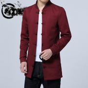 Chinese young men Chinese wind in autumn, Chinese Hanfu thin gown leisure slim windbreaker jacket