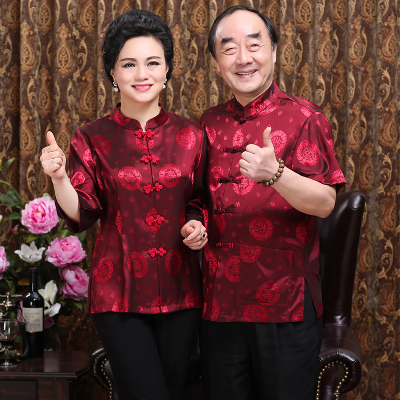 In the old man in the summer of Chinese costume lovers Tang suit jacket elderly Birthday wedding costume shorts
