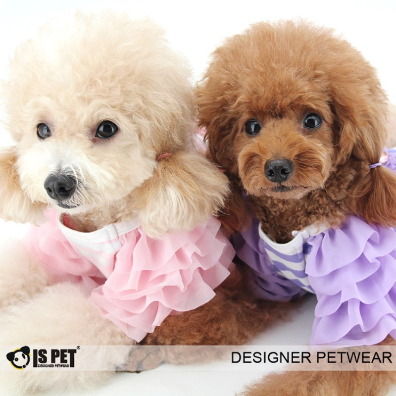 Ispet new bow tie, girl striped T-shirt, dog clothes, pet clothes, TS0036 Teddy clothes, /5.5