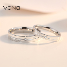 Vana sterling silver couple rings a pair of men and women simple Japanese and Korean rings original design inlaid Swarovski zircon