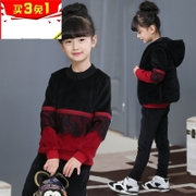 Hong Kong girls Winter wear set children's vest sweater girl with a hat thickening cashmere clothes three-piece set