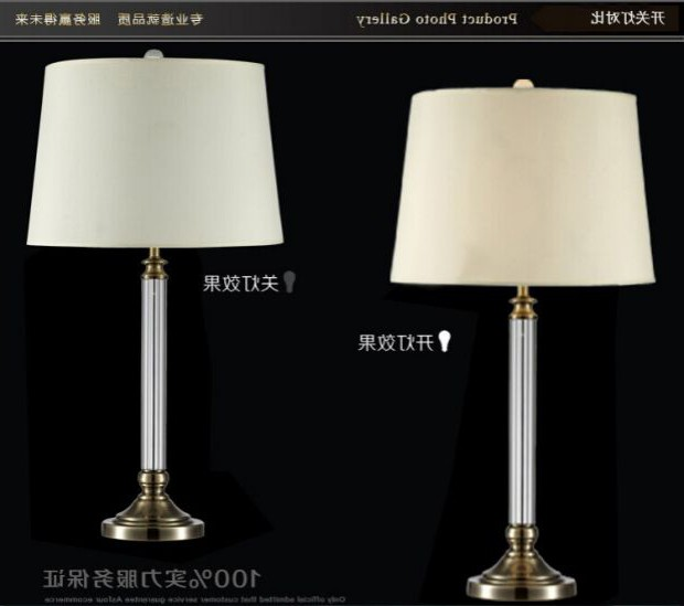 Fashion, modern Chinese style, simple bronze K9 crystal lamp, study, bedroom, bedside, fabric decoration, LED eye care