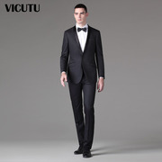 VICUTU/ men's suits with victu west dress marriage Black Slim double fork suit