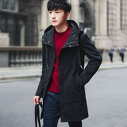 2017 new men's coats in winter with thick coat cashmere in the long handsome young male character Metrosexual jacket