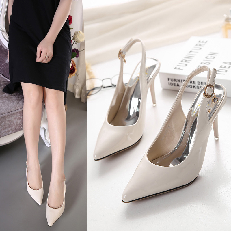 Europe and the United States famous brand counter, foreign trade women's shoes, 2017, the new summer, Baotou pointed high-heeled shoes, word buckle, women's shoes