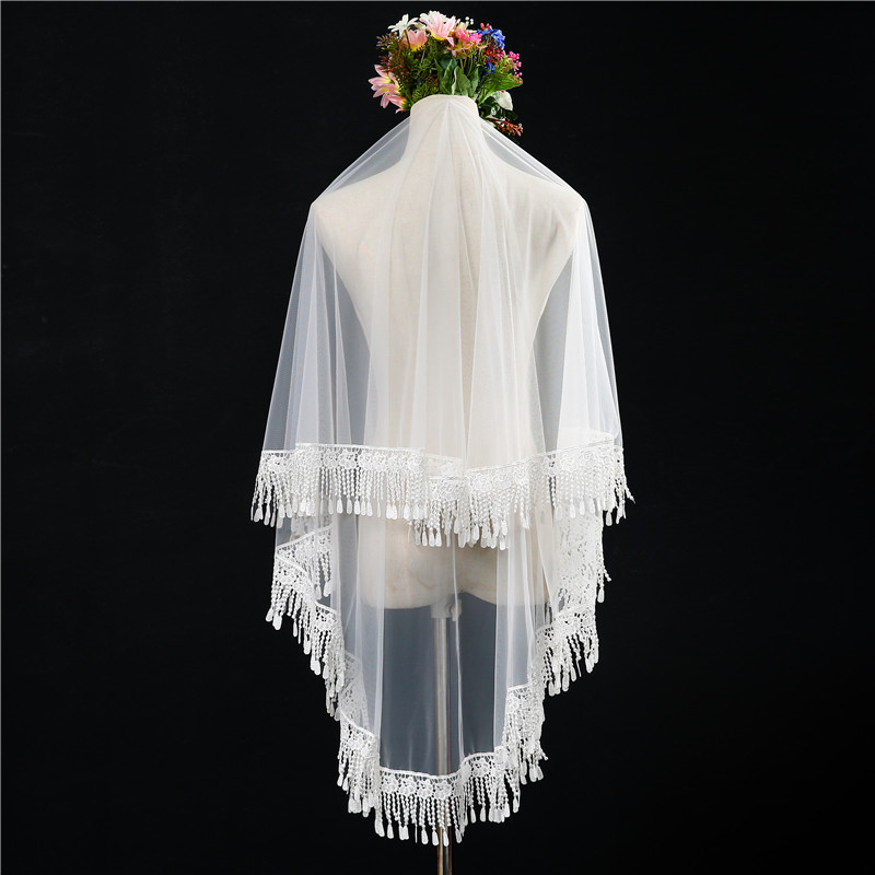 Beautiful new bride wedding veil long Korean lace veil long soft yarn