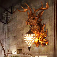 American country retro lamp room hallway Restaurant Bar Cafe Internet cafe creative personality antlers lamp wall lamp