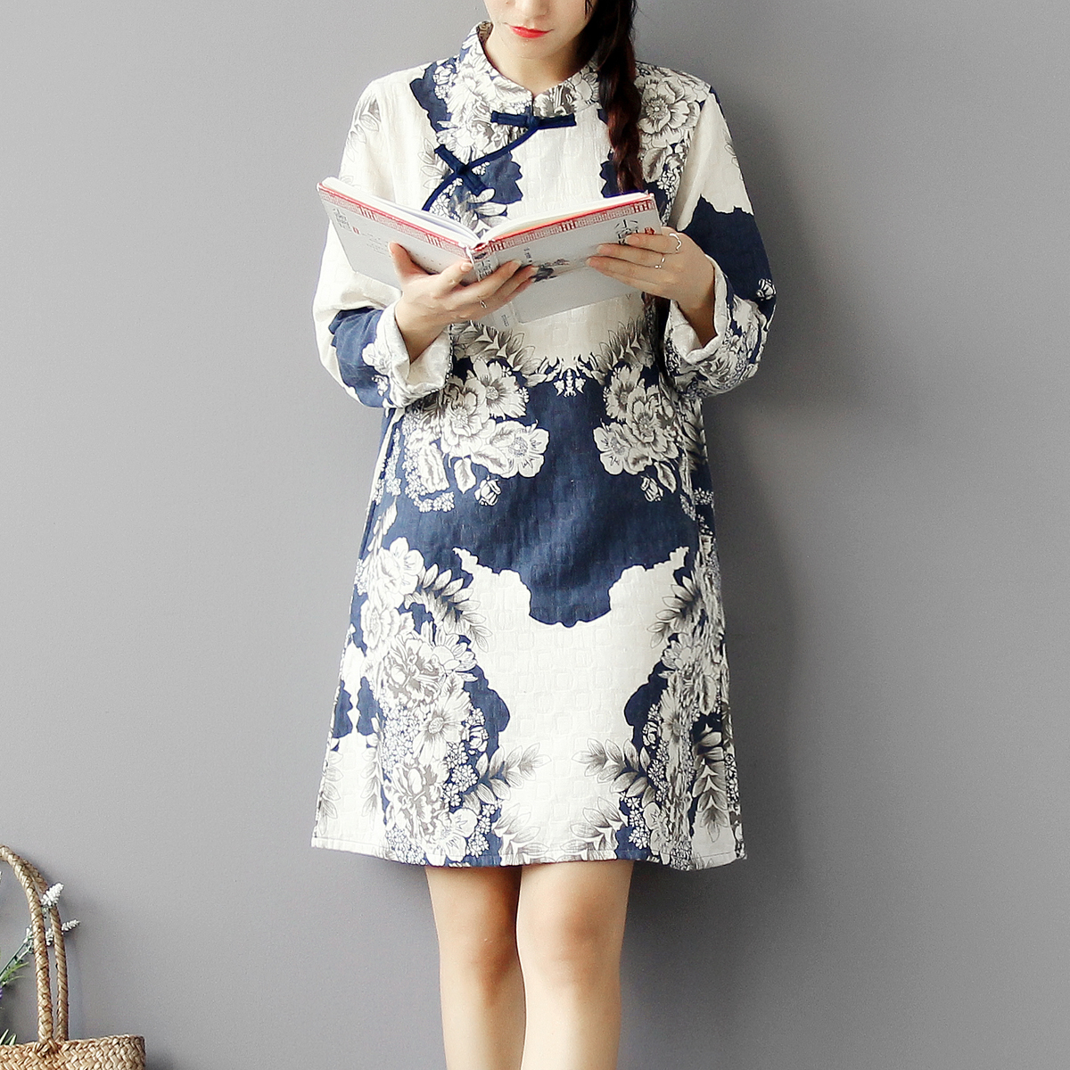 Su said Mianma note Retro Blue and white porcelain printing Chinese wind surplice modified Chinese children chemise Robe