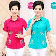 Summer led collar shirts short sleeve t-shirt middle-aged women wear MOM with 30 35 40 50 60