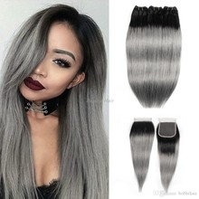 1B / drak gray Brazilian human virgin hair with closure