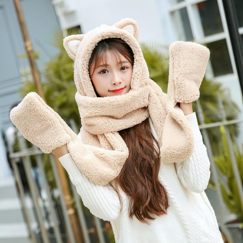 韩版冬季女连体围脖可爱卡通加厚保暖帽子围巾手套一体三件套成人