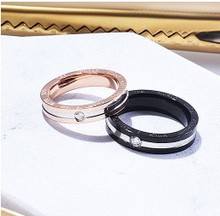 South Korea female personality black ring ring ring titanium steel food decorative lettering jewelry lovers trendsetter not fade