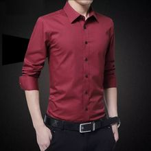 Spring and summer men's business mercerized cotton thin long sleeved shirt loose wrinkle free shirt clothes middle-aged father