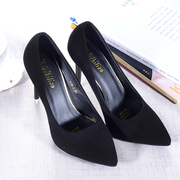 2016 new high heels with a fine black suede shoes all-match shallow mouth fashion shoes shoes occupation wedding shoes