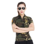 Summer new dance clothes woman camouflage short sleeve T-shirt military enthusiasts collar jacket square dance costumes