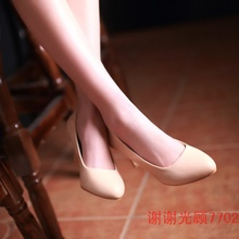 2017 spring big shoes high-heeled shoes suitable for female leisure code large feet instep high wear thick fat